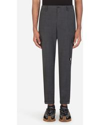 Dolce & Gabbana Micro-Patterned Stretch Wool Cargo Pants - Grigio