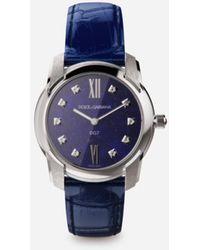 Dolce & Gabbana Dg7 Watch In Steel With Lapis Lazuli And Diamonds - Blau