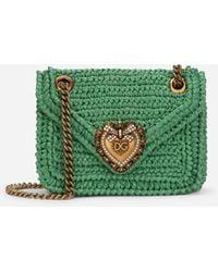 Dolce & Gabbana Medium Crochet Raffia Devotion Bag - Green