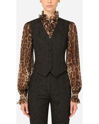 Dolce & Gabbana Floral Jacquard Vest - Black