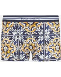 Dolce & Gabbana Cotton Boxers With Maiolica Print On A Blue Background - Azul
