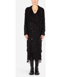 Dolce & Gabbana Double-breastd Coat With Embellished Fringing - Black