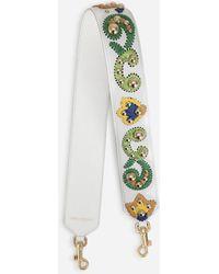 Dolce & Gabbana Calfskin Strap With Raffia Embroidery - Multicolour