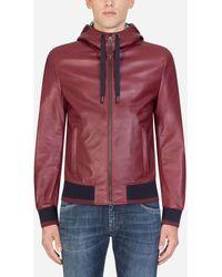 Dolce & Gabbana Leather Jacket With Hood - Mehrfarbig