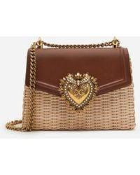 Dolce & Gabbana Medium Devotion Bag In Wicker And Calfskin - Neutro