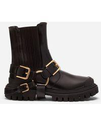 Dolce & Gabbana Trekking Style Ankle Boots In Calfskin With Dg Bracket Logo - Negro