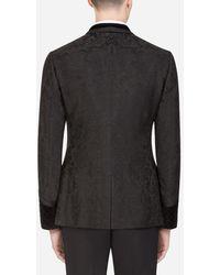 Dolce & Gabbana Jacquard Tuxedo Smoking Jacket With Patch - Schwarz