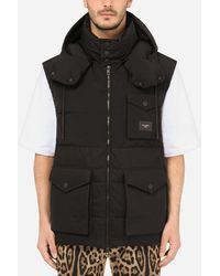 Dolce & Gabbana Quilted Gilet With Hood And Branded Plate - Black