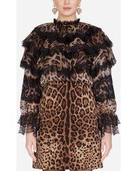 Dolce & Gabbana Ruffled Organza Shirt With Leopard Print - Brown