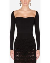 Dolce & Gabbana Sweetheart-neck Sweater - Black