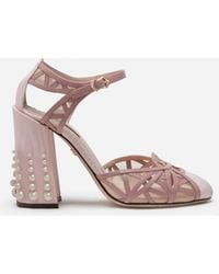 Dolce & Gabbana Mixed Material Ankle Strap Shoes With Pearl Embroidery - Rose