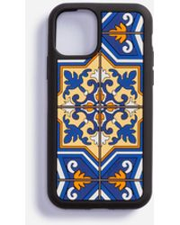Dolce & Gabbana Iphone 11 Pro Case In Rubber With Maiolica Print - Blue