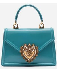 Dolce & Gabbana Medium Devotion Bag In Quilted Nappa Mordoré - Blue