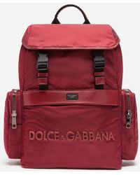 Dolce & Gabbana Dna Sicilia Backpack With Rubberized Logo - Red