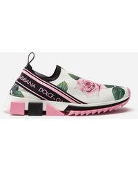 Dolce & Gabbana - Sneaker Sorrento In Maglina Stretch Stampa Tropical Rose - Lyst