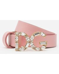 Dolce & Gabbana Nappa Leather Belt With Dg Buckle - Pink