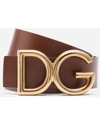 Dolce & Gabbana Dauphine Leather Belt - Brown