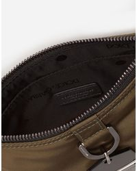 Dolce & Gabbana Flat Soft Dna Belt Bag In Nylon With Branded Metal Plate - Nero