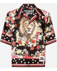 Dolce & Gabbana Silk Hawaiian Shirt With Lion Mix Print - Multicolor