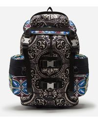 Dolce & Gabbana - Nylon Backpack With Maiolica Print - Lyst