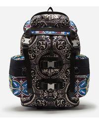 Dolce & Gabbana Mochila De Nailon Con Estampado Mayólico - Negro