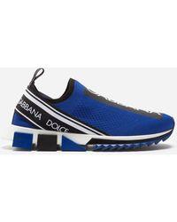 Dolce & Gabbana Sneakers Sorrento En Fine Maille Stretch Avec Logo - Bleu
