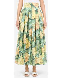 Dolce & Gabbana Hydrangea-print Poplin Skirt - Green