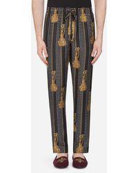 Dolce & Gabbana Pyjamahose Aus Bedruckter Seide - Schwarz