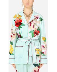 Dolce & Gabbana Charmeuse Pajama Shirt With Intarsia - Multicolor