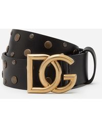 Dolce & Gabbana Leather Belt With Crossed Dg Logo And Mixed Stud Embroidery - Schwarz