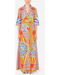 Dolce & Gabbana Long Carretto-print Twill Robe With Belt - Multicolor