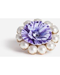 Dolce & Gabbana Ring With Decorative Resin And Pearls - Metallic