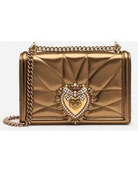 Dolce & Gabbana Medium Devotion Bag In Quilted Nappa Mordoré - Metálico
