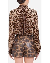 Dolce & Gabbana Crêpe De Chine Shirt With Leopard Print - Brown