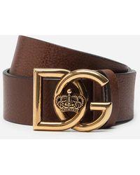 Dolce & Gabbana Tumbled Leather Belt With Dg Crosed Logo - Braun
