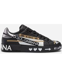 Dolce & Gabbana - Sneakers Portofino In Vitello Nappato Stampato - Lyst