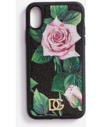 Dolce & Gabbana Cover Iphone X In Vitello Dauphine Stampa Tropical Rose - Nero