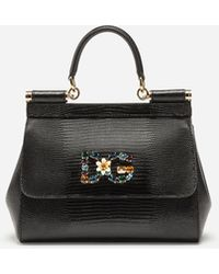 012bad518050 Dolce   Gabbana - Small Calfskin Sicily Bag With Iguana-print And Dg  Crystal Logo
