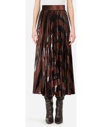 Dolce & Gabbana Pleated Longuette Skirt In Corduroy - Marron