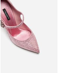 Dolce & Gabbana Satin Mary Janes With Crystals - Rosa