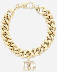 Dolce & Gabbana Logo Bracelet In Yellow 18kt Gold With Colorless Sapphires - Metallic