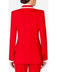 Dolce & Gabbana Double-Breasted Wool Blazer - Rouge