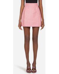 Dolce & Gabbana Kurzer A-Linien-Rock Aus Amerikanischem Alligatorleder Silky - Pink