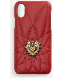 Dolce & Gabbana Cover Für Iphon X Aus Kalbsleder Devotion - Rot