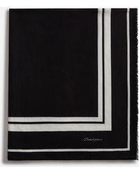 Dolce & Gabbana Cotton Beach Sarong With Crown Print - Black