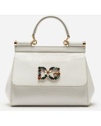 Dolce & Gabbana Small Calfskin Sicily Bag With Iguana-Print And Dg Crystal Logo Patch - Blanc