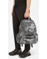 Dolce & Gabbana - Camouflage-print Nylon Backpack With Branded Tag - Lyst