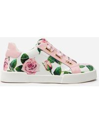 Dolce & Gabbana Portofino Light Trainers In Patent Leather With Tropical Rose Print - Pink