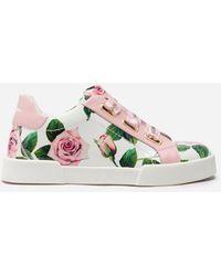 Dolce & Gabbana Sneakers Portofino Light Aus Lackleder Print Tropical Rose - Pink