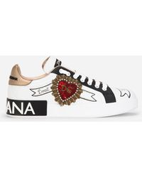 Dolce & Gabbana Printed Calfskin Nappa Portofino Sneakers With Embroidery - White